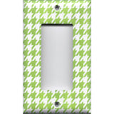 Single Rocker Decora GFI Outlet Cover in Lime Green & White Houndstooth Handmade- Simply Chic Gal