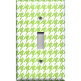 Single Toggle Light Switch Cover in Lime Green & White Houndstooth Handmade- Simply Chic Gal