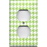 Wall Outlet Cover in Lime Green & White Houndstooth Handmade- Simply Chic Gal