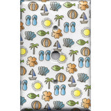 Cable Jack Cover in Summer Beach Theme Sail Boats, Sea Shells