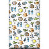 Single Blank Cover in Summer Beach Theme Sail Boats, Sea Shells