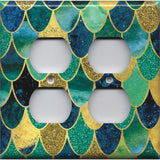 4 Plug Outlet Cover in Mermaid Tail Blue, Green, & Gold Scales