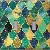 Double Toggle Light Switch Cover in Mermaid Tail Blue, Green, & Gold Scales