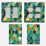 Mermaid Tail Blue, Green, & Gold Scales Light Switch & Outlet Covers