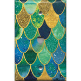 Phone Jack Cover in Mermaid Tail Blue, Green, & Gold Scales