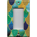 Single Rocker Decora GFI Outlet Cover in Mermaid Tail Blue, Green, & Gold Scales