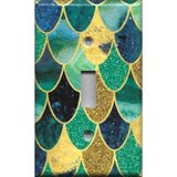 Single Toggle Light Switch Plate in Mermaid Tail Blue, Green, & Gold Scales