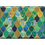 Triple Toggle Light Switch Cover in Mermaid Tail Blue, Green, & Gold Scales