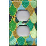 Wall Outlet Plate Cover in Mermaid Tail Blue, Green, & Gold Scales