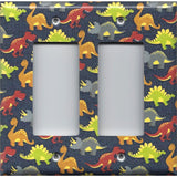 Double Rocker Decora Light Switch Plate in Small Dinosaurs Boys Bedroom Decor