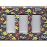 Triple Rocker Decora Light Switch Plate in Small Dinosaurs Boys Bedroom Decor