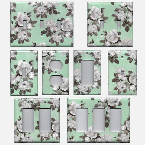 Mint Green & Gray Vintage Floral Light Switch Plates & Outlet Covers