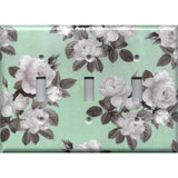 Triple Light Switch Cover in Mint Green & Gray Vintage Floral