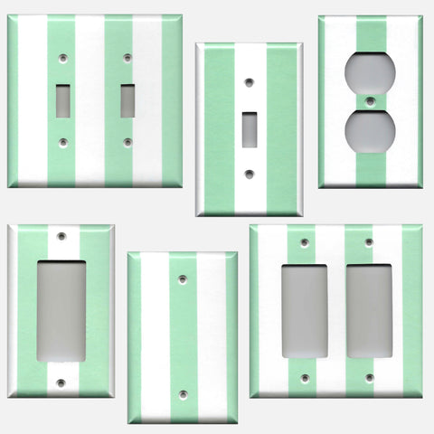Mint Green and White Wide Stripes Light Switch Plates & Outlet Covers
