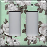 Double Rocker Decora Light Switch Cover in Mint Green & Gray Vintage Floral Print