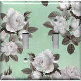 Double Toggle Light Switch Cover in Mint Green & Gray Vintage Floral Print