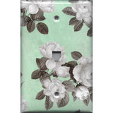 Phone Jack Cover in Mint Green & Gray Vintage Floral Print