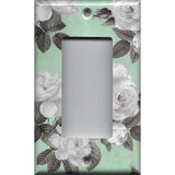 Single Rocker Decora GFI Outlet Cover in Mint Green & Gray Vintage Floral Print