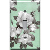 Single Toggle Light Switch Cover in Mint Green & Gray Vintage Floral Print