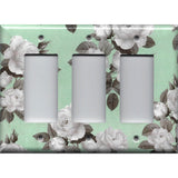 Triple Rocker Decora Light Switch Cover in Mint Green & Gray Vintage Floral Print