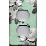 Wall Outlet Plate Cover in Mint Green & Gray Vintage Floral Print