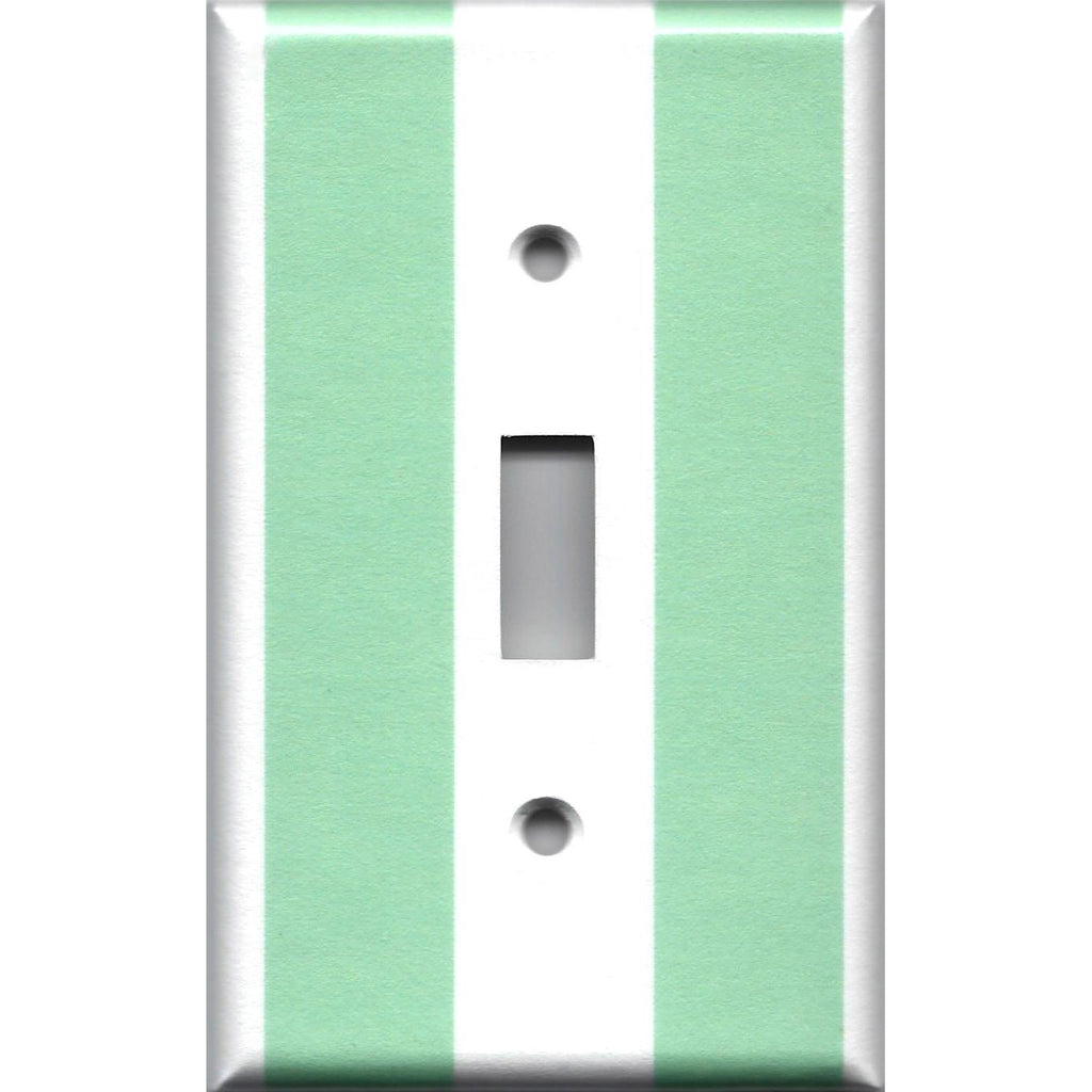 Single Toggle Light Switch Plate Cover in Mint Green and White Wide Stripes