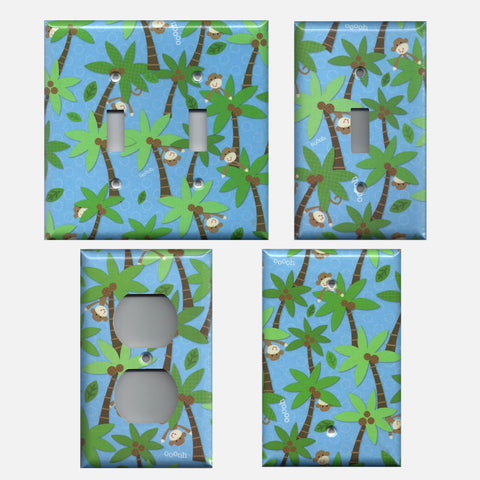 Tropical Island Monkeys Palm Trees Hand Made Light Switchplates & Outlet Covers