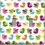 Double Light Switch Plate Cover in  Woodland Nursery Decor Multi Color Baby Ducks
