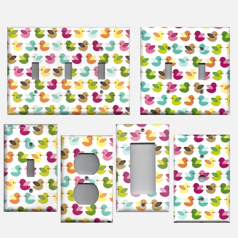 Woodland Nursery Decor Multi Color Baby Ducks Light Switch Plate Covers and Wall Outlet Covers