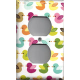 Wall Outlet Plate Cover in  Woodland Nursery Decor Multi Color Baby Ducks