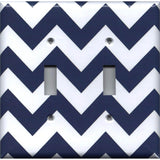 Double Toggle Light Switch Cover in Navy Blue Chevron Print