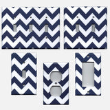 Navy Blue Chevron Print Light Switch Covers and Outlet Covers