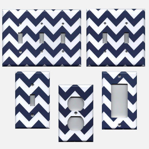 Navy Blue Chevron Print Handmade Light Switch Covers & Outlet Covers- Simply Chic Gal