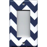 Single Rocker Decora GFI Outlet Cover in Navy Blue Chevron Print