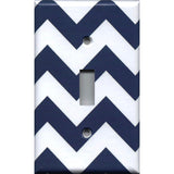 Single Toggle Light Switch Cover in Navy Blue Chevron Print Handmade- Simply Chic Gal