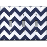 Triple Light Switch Cover in Navy Blue Chevron Print
