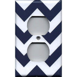 Wall Plate Outlet Cover in Navy Blue Chevron Print Handmade- Simply Chic Gal