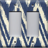 Double Rocker Decora Light Switch Cover in Navy Blue & Cream Chevron Boho Decor