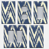 Navy Blue and Cream Tapestry Print Boho Chevron Light Switch Cover and Outlet Covers