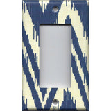 Single Rocker Decora GFI Outlet Cover in Navy Blue & Cream Chevron Boho Decor