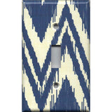 Single Toggle Light Switch Cover in Navy Blue & Cream Chevron Boho Decor