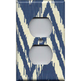 Wall Outlet Plate Cover in Navy Blue & Cream Chevron Boho Decor