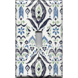 Single Toggle Light Switch in Navy & Sage Green Boho Chic Ikat Print