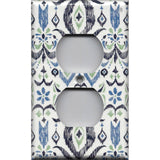 Wall Outlet Plate Cover in Navy & Sage Green Boho Chic Ikat Print