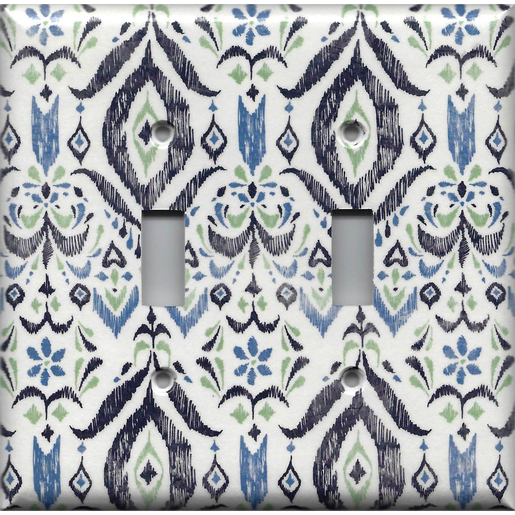 Double Toggle Light Switch Coer in Navy & Sage Green Boho Chic Ikat Print
