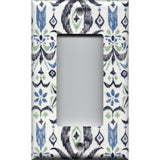 Single Rocker Decora GFI Outlet Cover in Navy & Sage Green Boho Chic Ikat Print