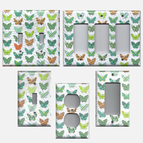 Newspaper Butterflies Teal Orange Green Light Switch & Outlet Covers