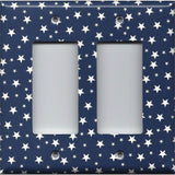 Double Rocker Cover in Navy Patriotic Americana Night Sky Stars
