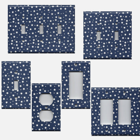 Navy Patriotic Americana Night Sky Stars Light Switch & Outlet Covers