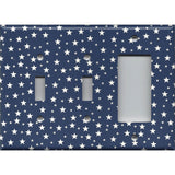 Combo Two Light Switches and Rocker GFI Outlet Cover in Navy Blue & White Stars Americana Night Sky
